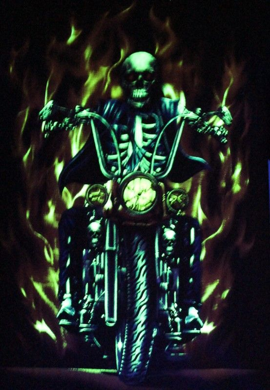 Ghost Fire Rider - Glow in the Dark Radium Neon UV High definition 3D Club Tshirt Buy Online in India