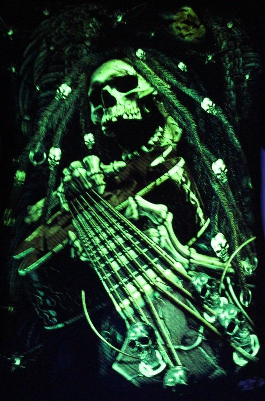 Ghost Guitarist - Glow in the Dark Radium Neon UV High definition 3D Club Tshirt Buy Online in India