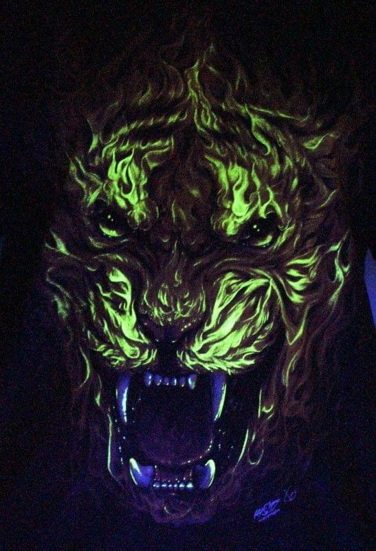 Burning Tiger - Glow in the Dark Radium Neon UV High definition 3D Club Tshirt Buy Online in India