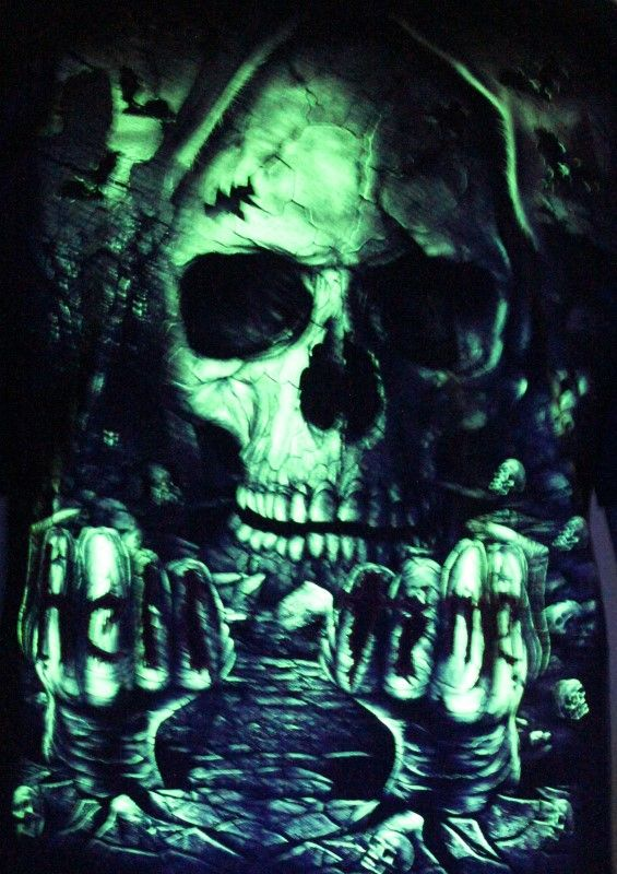 Hell Time Dude Skull - Glow in the Dark Radium Neon UV High definition 3D Club Tshirt Buy Online in India
