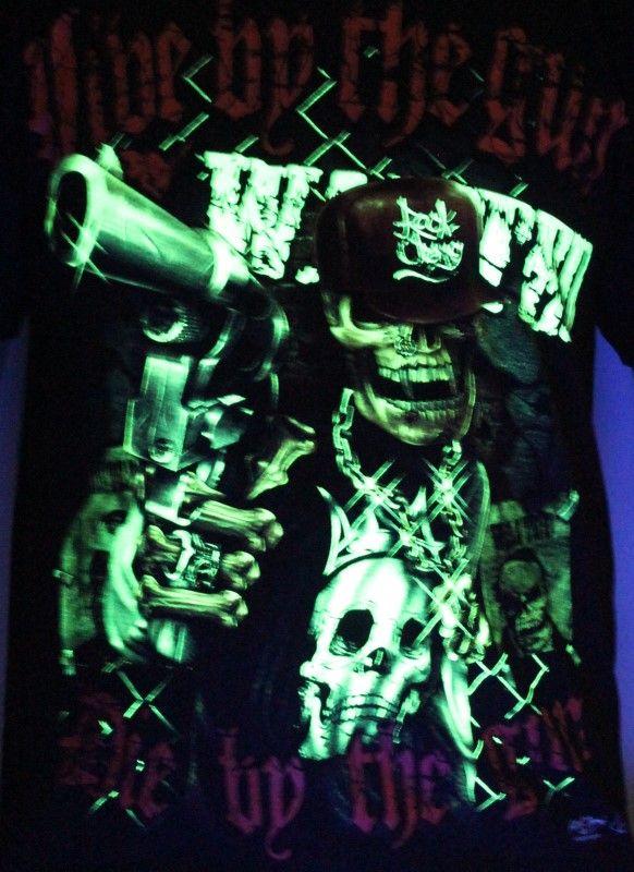 Die by the Gun - Glow in the Dark Radium Neon UV High definition 3D Club Tshirt Buy Online in India