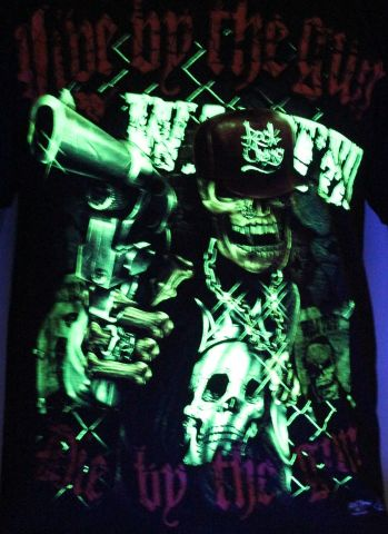Die by the Gun - Glow in the Dark Radium Neon UV High definition 3D Club Tshirt Buy Online in India