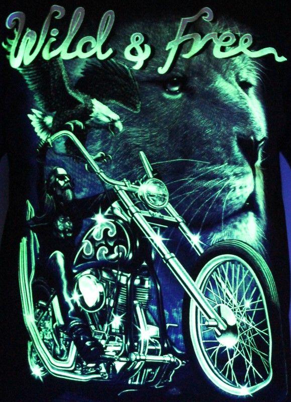 Wild And Free Biker - Glow in the Dark Radium Neon UV High definition 3D Club Biker Tshirt Buy Online in India