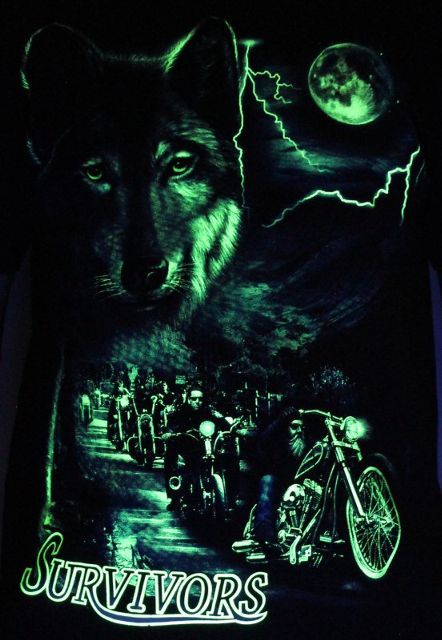 Wolf Survivors Bike Gang - Glow in the Dark Radium Neon UV High definition 3D Club Biker Tshirt Buy Online in India