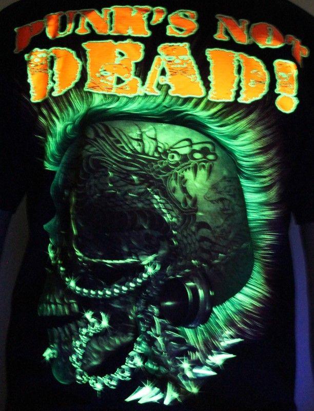 Punk's Not Dead - Glow in the Dark Radium Neon UV High definition 3D Club Biker Tshirt Buy Online in India