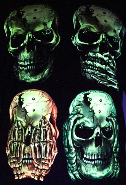 Fuck Peace - 3 Monkey one Rebel - Glow in the Dark Radium Neon UV High definition 3D Club Biker Tshirt Buy Online in India