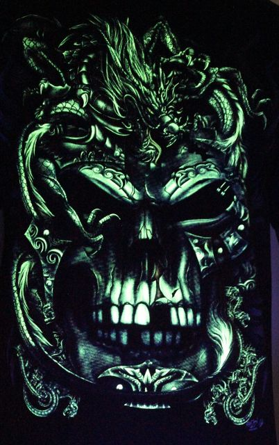 Brutal King Skull and Dragon - Glow in the Dark Radium Neon UV High definition 3D Club Biker Tattoo Tshirt Buy Online in India