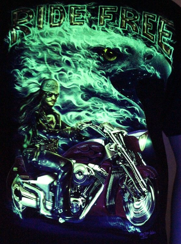 Ride Free - Glow in the Dark Radium Neon UV High definition 3D Club Biker Tattoo Tshirt Buy Online in India