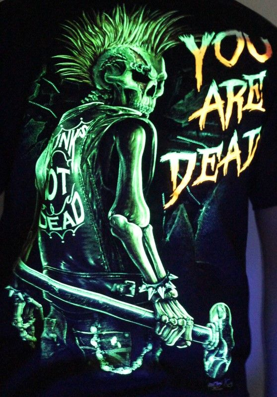 Punk's not Dead , You Are Dead - Glow in the Dark Radium Neon UV High definition 3D Club Biker Tattoo Tshirt Buy Online in India