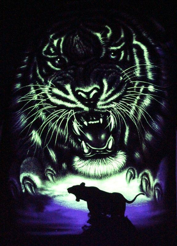 The Jungli Tiger - Glow in the Dark Radium Neon UV High definition 3D Club Biker Tattoo Tshirt Buy Online in India
