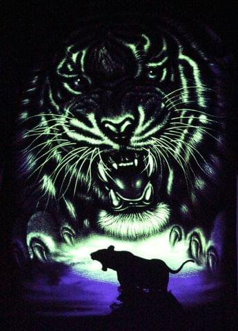 The Jungli Tiger - Glow in the Dark Radium Neon UV High definition 3D Club Biker Tattoo Tshirt Buy Online in India