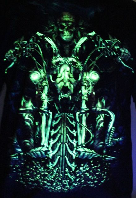 Dark Ghost Bike Rider  Glow in the Dark Radium Neon UV High definition 3D Club Tshirt