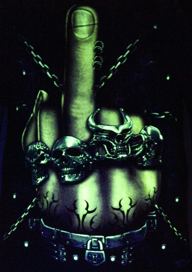 What the F**k  Glow in the Dark Radium Neon UV High definition 3D Club Biker Tattoo Tshirt Buy Online in India