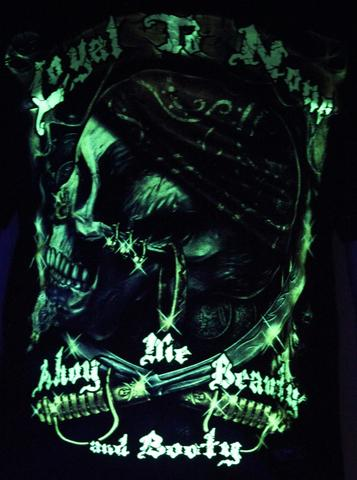 Loyal to None  - Glow in the Dark Radium Neon UV High definition 3D Club Biker Tattoo Tshirt Buy Online in India
