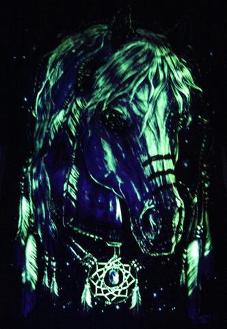 Feather Horse Dream catcher  - Glow in the Dark Radium Neon UV High definition 3D Club Biker Tattoo Tshirt Buy Online in India