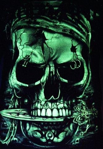 Born to be Pirate -  Glow in the Dark Radium Neon UV High definition 3D Club Biker Tattoo Tshirt Buy Online in India