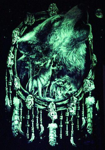Wolf Feather Dream Catcher  - Glow in the Dark Radium Neon UV High definition 3D Club Biker Tattoo Tshirt Buy Online in India