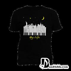 City of Piano Tshirt Mens round neck  T-shirt