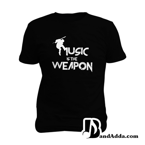Music is the Weapon Mens round neck  T-shirt