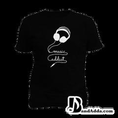 Music Addict Coming throug  Mens round neck  T-shirt