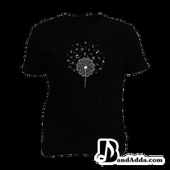 Music Dandelion Notes Mens round neck  T-shirt
