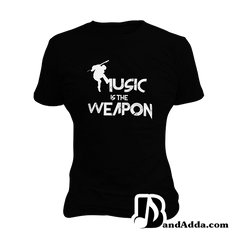 Music is the Weapon round neck  Women T-shirt