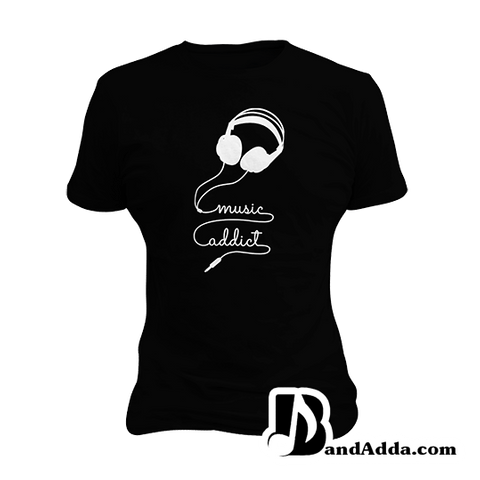 Music Addict Coming throug  round neck  Women T-shirt