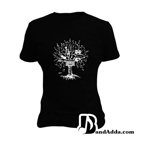 Tree of Music round neck  Women T-shirt
