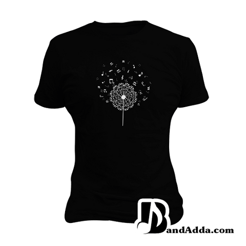 Music Dandelion Notes round neck  Women T-shirt