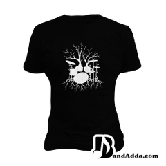 Drummer Dreams in Roots round neck  Women T-shirt
