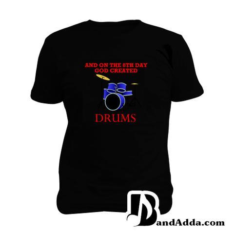 God Created Drums Man Music T-shirt
