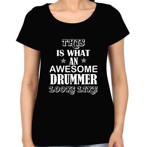 Awesome Drummer Woman Music t-shirt