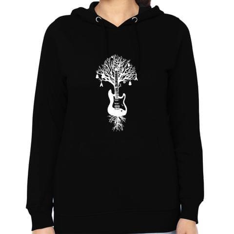 Music Tree Guitar round neck  Women Hoodie Sweatshirt