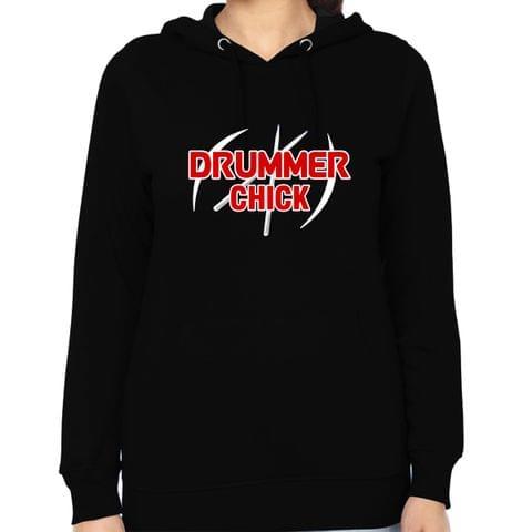 Drummer Chick  Woman Music Hoodie Sweatshirt