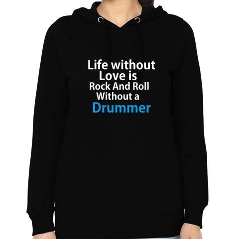 Rock n Roll with Drummer Woman Music Hoodie Sweatshirt