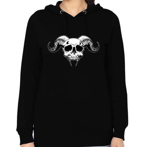 Demon Skull round neck  Women Hoodie Sweatshirt