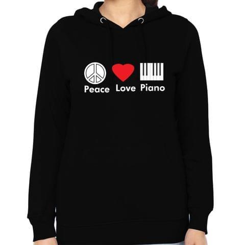 Peace Love Piano Woman Music Hoodie Sweatshirt