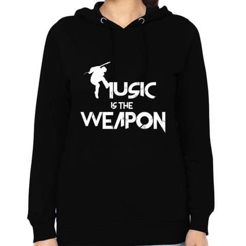 Music is the Weapon round neck  Women Hoodie Sweatshirt