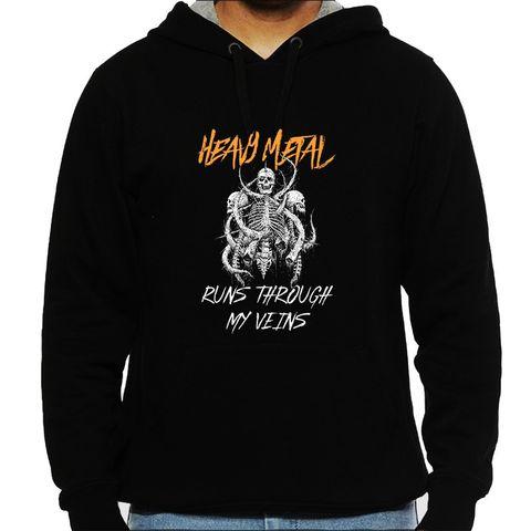Heavy Metal runs through my Veins Mens Hooded Sweatshirt