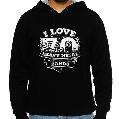 Love 70 Heavy Metal Bands Mens Hooded Sweatshirt