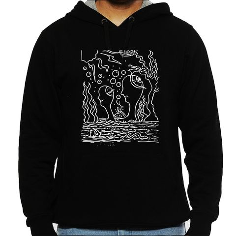 Ocean of Thoughts in Storm Trip psy Trippy Psychedelic  Man Hooded Sweatshirt