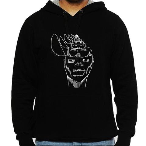 Opened my Head Nothing psy Trippy Psychedelic  Man Hooded Sweatshirt