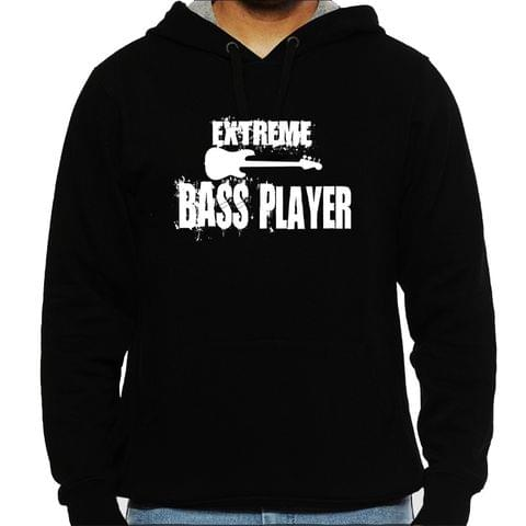Extreme Bass Player Man Hooded Sweatshirt