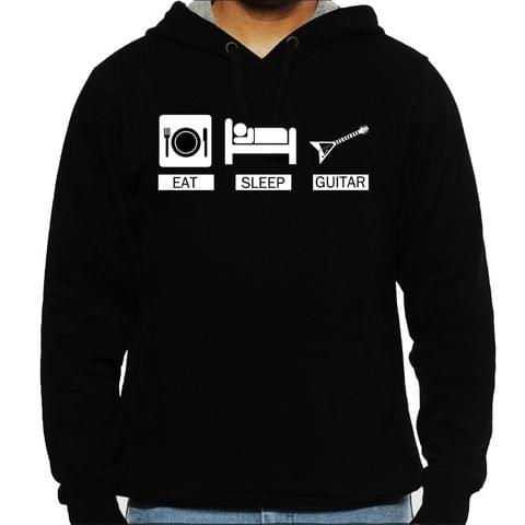 Eat Sleep Guitar Man Hooded Sweatshirt