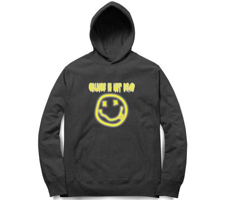 Grunge not Dead Nirvana Smiley Kurt Cobain   Unisex Hoodie Sweatshirt for Men and Women