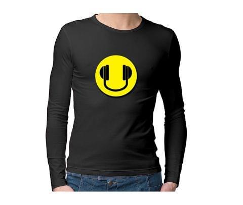 Headphones smiley  Unisex Full Sleeves Tshirt for men women