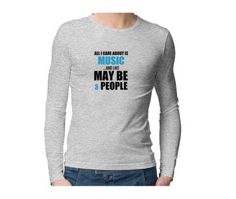 Only care for music  Unisex Full Sleeves Tshirt for men women
