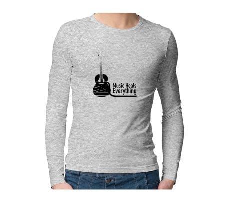 Music heals everything  Unisex Full Sleeves Tshirt for men women