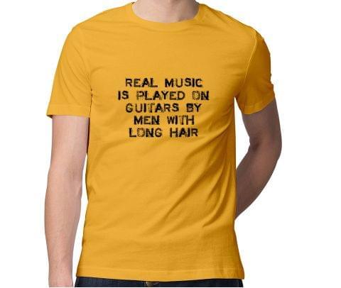 Musician Men with Long Hair  Men Round Neck Tshirt