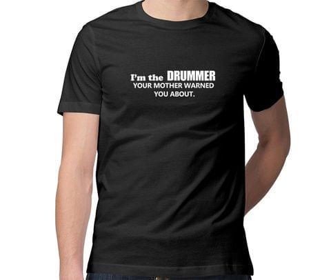 Warning Drummer  Men Round Neck Tshirt